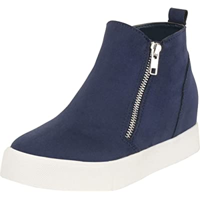 Cambridge Select Women's High Top Side Zip Hidden Wedge Fashion Sneaker | Fashion Sneakers
