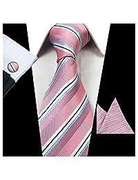 JEMYGINS Classic Formal Necktie Striped Tie and Pocket Square Cufflink Set for Men