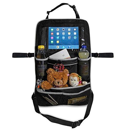 Premium-Rücksitztasche fürs Auto mit Tablett-Fach | Geräumiger Rücksitz-Organizer perfekt für Kinder | Geräumige Rücklehntasche für Reise-Utensilien und Spielzeug | Leicht abwaschbarer Rücklehnenschutz (Einzel)