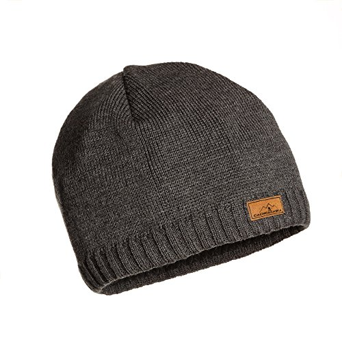 CacheAlaska Beanie Grey Hat - Ski Cap Wool Blend - Designed