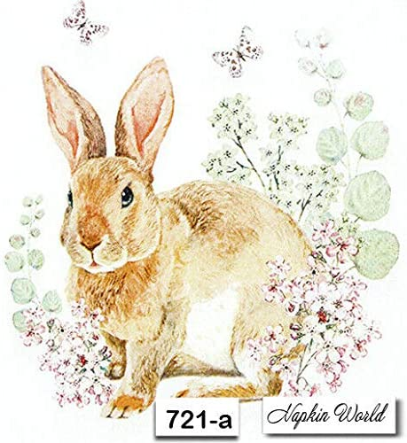 Bunny and Clyde 4 Individual Napkins for Craft /& Napkin Art 3-ply 4 Paper Napkins for Decoupage 33 x 33cm