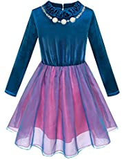 Sunny Fashion Girls Dress Long Sleeve Tutu Skirt Bow Tie Party Size 6-12 Years
