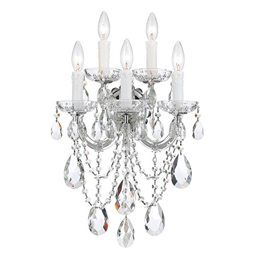Crystorama 4425-CH-CL-MWP MARIA THERESA 5 LIGHT CLEAR CRYSTAL CHROME SCONCE I