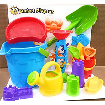 Made For Fun Sand & Water Bucket Playset with Large Shovel 17pcs: Toys & Games