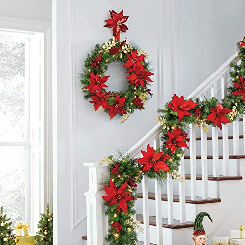 BrylaneHome Pre-Lit Poinsettia Wreath - Red