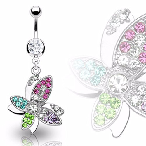Freedom Fashion Butterfly Multi Colored Gem Dangle 316L Surgical Steel Navel Ring