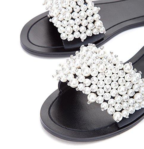 Lave Farve Casual 34 Søde Kvinder Hæle Dhg Mode Solid Spids Sort Hæle Sko Høje Flad Sommer Sandaler qPvwTxnawY