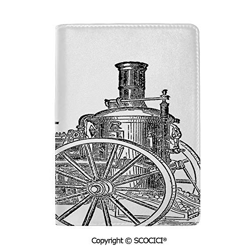 SCOCICI Leather Passport Cover Luxury Old Fireman Truck Drawing Effect Picture British Antique Transport Decorative Travel Document Organizer