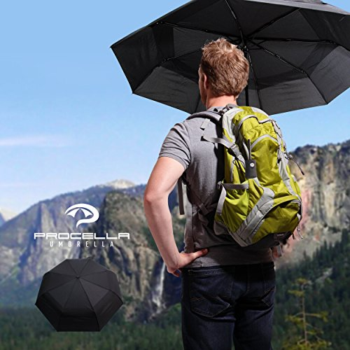 60 MPH Unbreakable Procella Travel Umbrella Windproof Double Vented Canopy