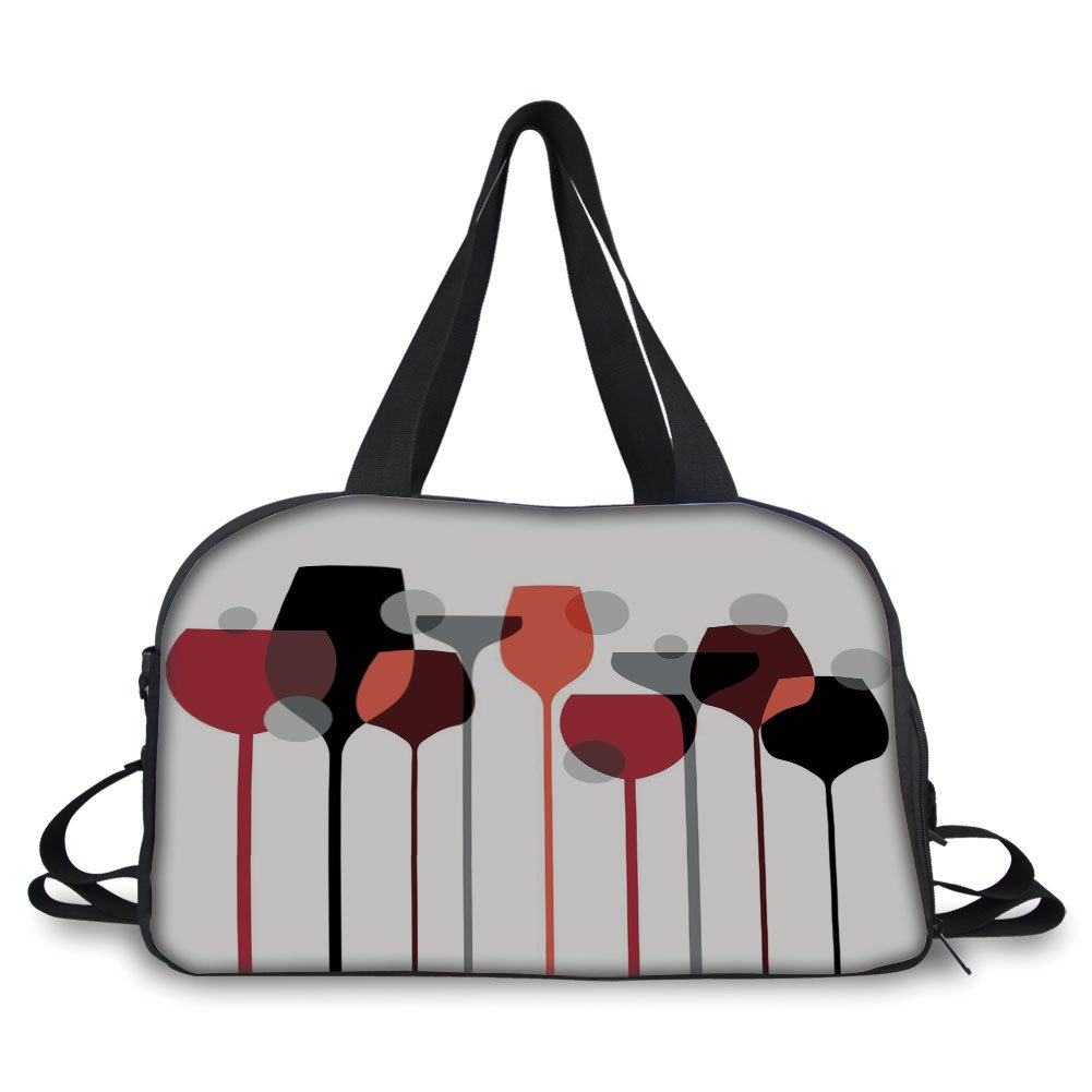 iPrint Travelling bag,Wine,Stylized Abstract Wine Glasses Silhouettes with Dots Alcohol Drink Modern Artistic Decorative,Red Grey Black ,Personalized