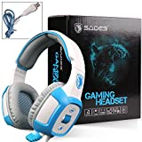 Cheap SADES SA906 7.1 Surround Stereo Gaming Headsets with Mic Vibration LED(White)