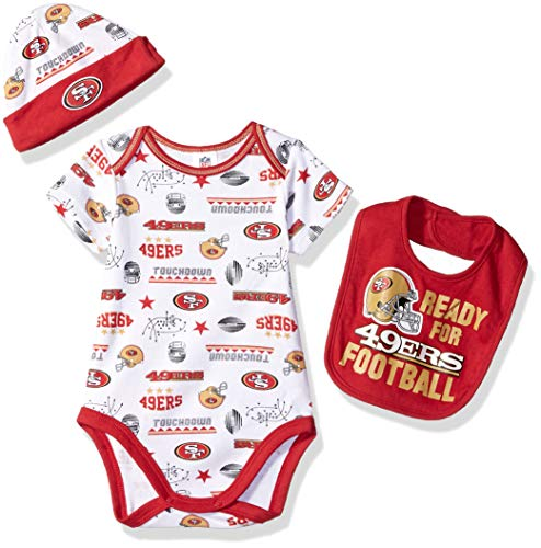 49ers Apparel Francisco San Boys - NFL San Francisco 49Ers Unisex-Baby Bodysuit, Bib & Cap Set, Red, 0-3 Months