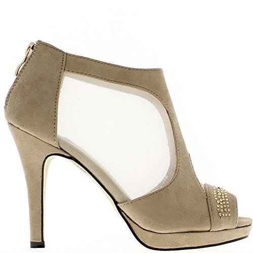 Tortora alle flange di 11,5 cm sandali tacco camoscio aspetto raffinato e plateau