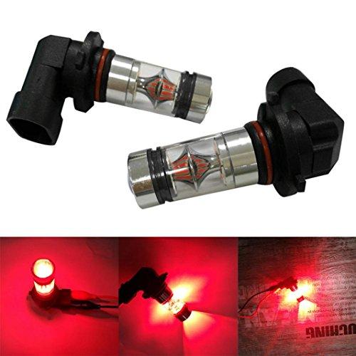 Ecosin Fashion 2X H10 9005 9006 100W 20LED HID 2323 Fog Driving DRL Light Bulbs (Red)