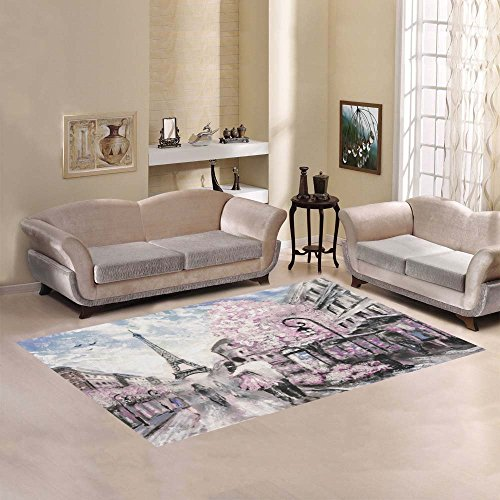(Love Nature Sweet Home Modern Collection Custom Street View of Paris Eiffel Tower Area Rug 7'x5' Indoor Soft Carpet)