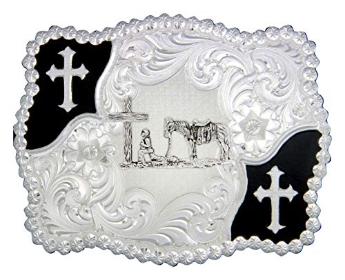 (Montana Silversmiths Men's Cowboy and Crosses Belt Buckle, 4