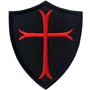 Caballeros Templarios Escudo cruzado Militar Moral Broche Bordado de Gancho y Parche de Gancho y bucle de cierre