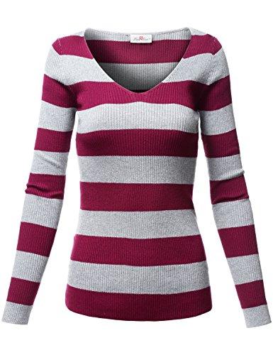 Basic Slim Fit V-Neck Striped Knit Sweater Tops