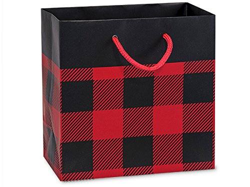 Buffalo Plaid Matte Laminated Jewel 100 6-1/2x3-1/2x6-1/2'' Gift Bags (Unit Pack - 100) by Better crafts