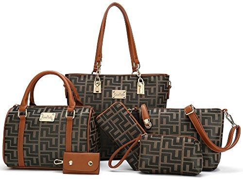- Women Shoulder Bag Tote Bag for Work Handbag and Purse 6 Piece Set Bag (Brown-2)