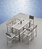 Outdoor Patio Wicker Furniture New Aluminum Resin 7-Piece Dining Bar Table & Barstool Set