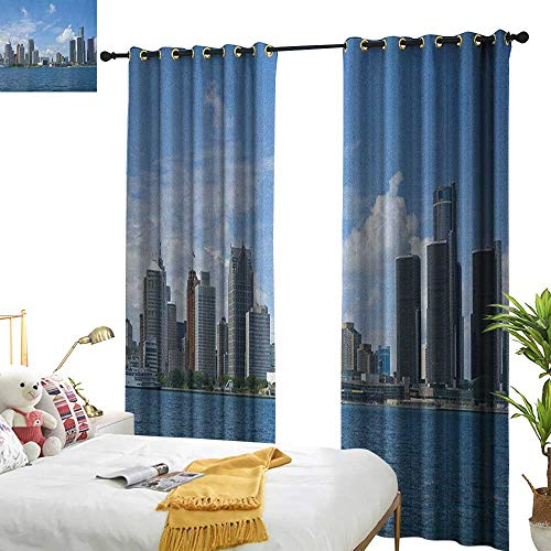 (Insulated Sunshade Curtain Detroit Downtown Detroit GM Renaissance Center Ford Auditorium Shoreline Image Home Garden Bedroom Outdoor Indoor Wall Decorations W96 x L84 Pale Blue White Grey)