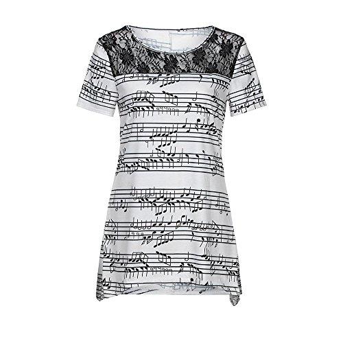 Women Blouse,Jinijn Womens Musical Note Sweatshirt O Neck Short Sleeve Pullover Tops Blouse Shirt (S) by Jinjin