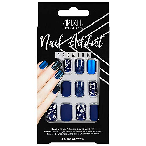 Ardell Nail Addict Premium Artificial Nail Set, Matte Blue