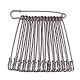 BENECREAT 20PCS 4'(10cm) Safety Pins Extra Large Heavy Duty Safety Pins for Blankets, Skirts, Kilts, Knitted Fabric, Crafts (Black)