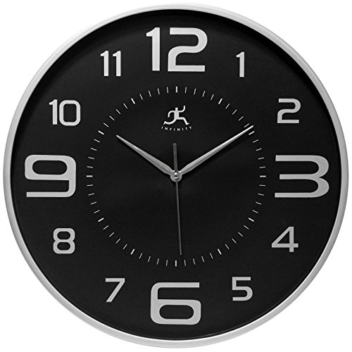 18 inch Modern Wall Clock, Silver and Black, Tux by Infinity Instruments Review