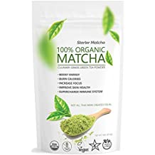 Starter Matcha (16oz/453g) - USDA Organic, Non-GMO Certified, Vegan and Gluten-Free. Pure Matcha Green Tea Powder. Grassy Flavor with Mild Natural Bitterness and Autumn-Green color.