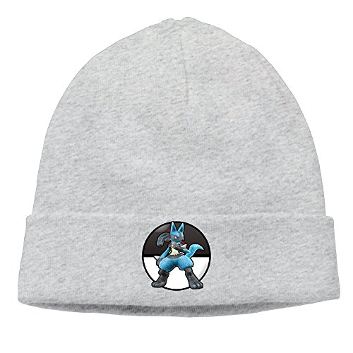 Caromn Lucario Beanies Skull Ski Cap Hat Ash