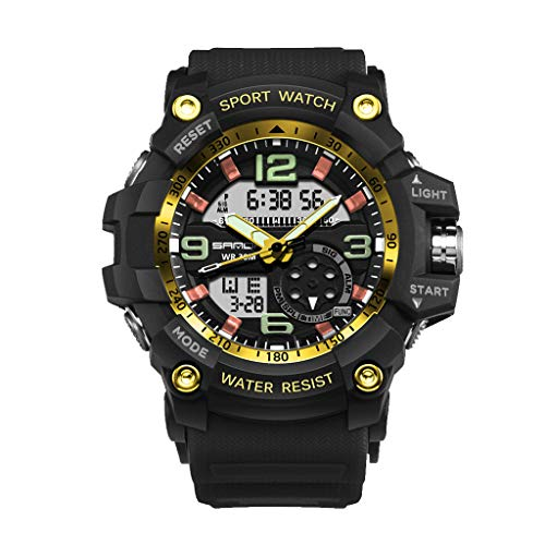 DEESEE(TM)Sanda Waterproof Dual Display Analog Digital LED Electronic Wrist Men Watches - Collection Chrono Pearl
