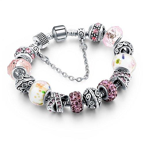 Silver Bracelets For Women Blue Crystal Beads Bracelet Female Pulseras Mujer Sbr160158 Pink1