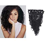 Anrosa Curly Clip in Hair Extensions Afro Jerry Curly Type Real Remy Human Hair 1B Natural Black Thick 120 Gram for African American Black Women 18 Inch