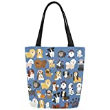 InterestPrint Cute Dog Pattern Canvas Tote Bag Shoulder Handbag for Women Girls