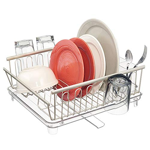 mDesign Large Modern Kitchen Countertop, Sink Dish Drying Rack - Removable Cutlery Tray and Drainboard with Adjustable Swivel Spout - 3 Pieces, Satin/Clear Cutlery Caddy and Drainboard