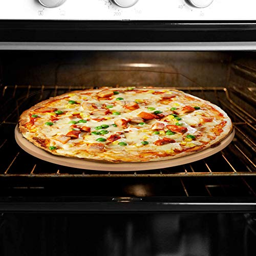 BONA FIERER Pizza Stone for Oven Grill 15 Inch Round Heavy Duty Baking Stone Pizza Pan Thermal Shock Resistant, Durable and Safe 6.7Lbs