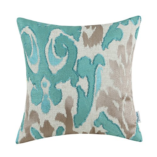 CaliTime High Class Throw Pillow Cover Case for Couch Sofa Home, Vintage Ikat Style Applique Embroidered, 20 X 20 Inches, Teal Taupe - Ikat Throw Pillow