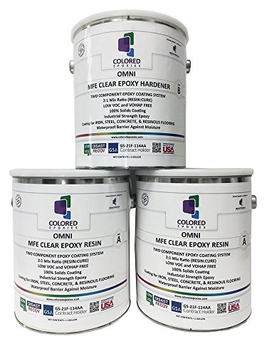 - Coloredepoxies 10002 Clear Epoxy Resin Coating 100% Solids, High Gloss For Garage Floors, Basements, Concrete and Plywood. 3 Gallon Kit