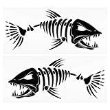 Lixada 2 Pieces Fish Teeth Mouth Stickers Skeleton Fish Stickers Fishing Boat Canoe Kayak Graphics Accessories