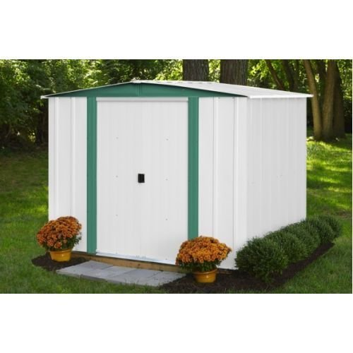 Arrow Shed HM86-A Hamlet 8' x 6' Eggshell & Green Meadow w/ 43.5'' x 58'' Door --P#EWT43 65234R3FA214860 by Lisongin