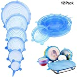 Silicone Stretch Lids, Reusable Silicone Bowl Lids Food Saver Covers Wrap Bowl Pot Cup Lid(12 Pack,Blue)