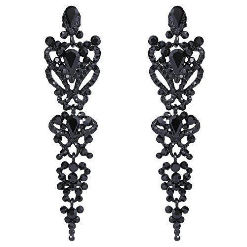 Tone Floral Earrings (EVER FAITH Women's Austrian Crystal Gastby Inspired Floral Knot Dangle Earrings Jet Color Black-Tone)