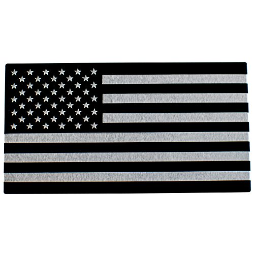 (3D METAL American Flag Car Sticker Emblem For Auto, Bike, Truck, Car, and SUV (Black & Silver))