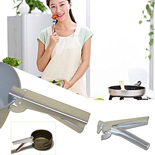 Forfar 1pc Cook Pan Alicates Herramienta auxiliar aluminio olla abrazadera de camping sartén para barbacoa mango Grabber...