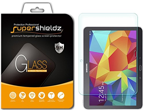 ([2-Pack] Supershieldz for Samsung Galaxy Tab 4 10.1 inch Screen Protector, [Tempered Glass] Anti-Scratch, Anti-Fingerprint, Bubble Free, Lifetime Replacement Warranty)