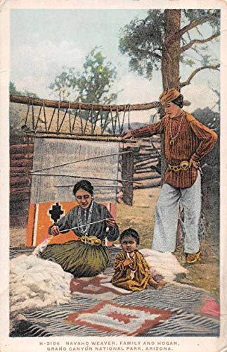 Grand Canyon National Park Arizona Navaho Weaver with Family Postcard JA454415