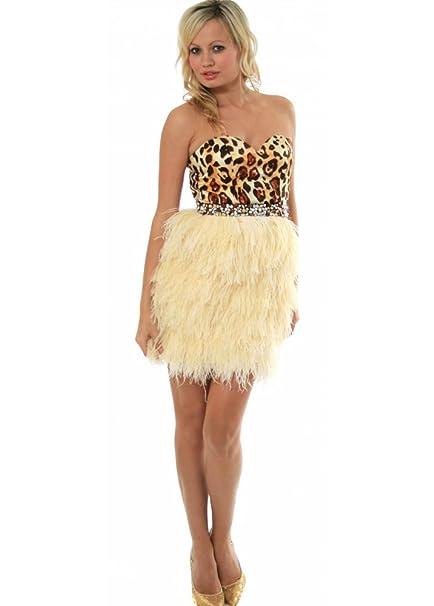 Sherri Hill Dress Leopard Bustier Feather Prom - Style 2337 UK 14 Cream/Ivory: Amazon.co.uk: Clothing