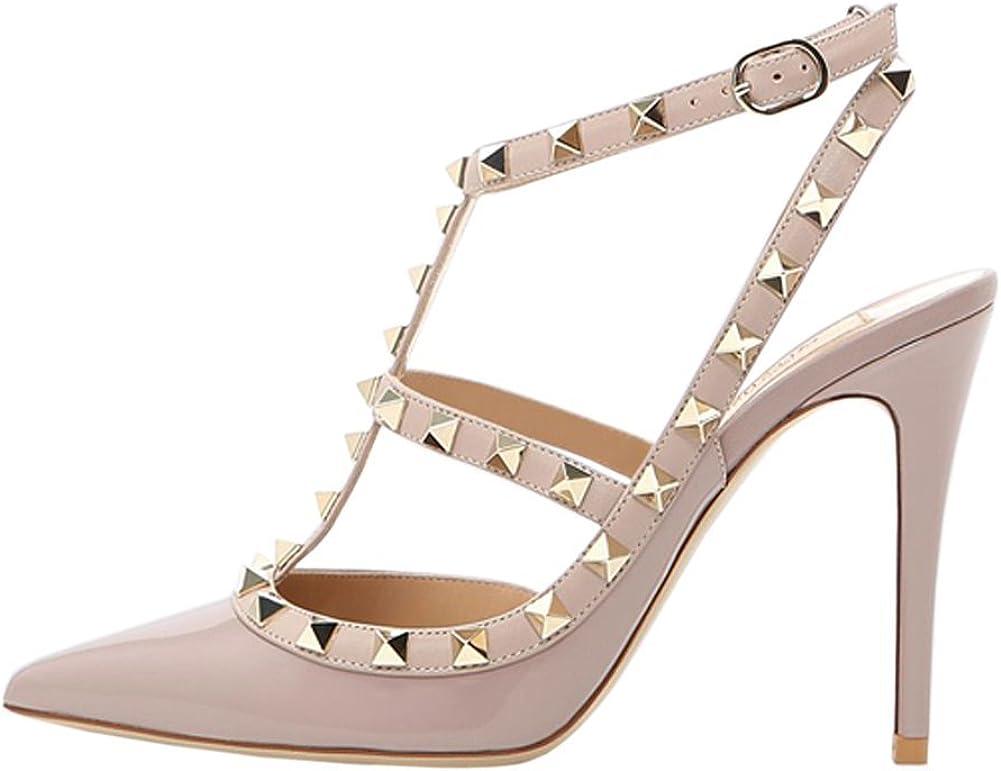 Arc-en-Ciel007 Womens Shoes Studded Stiletto Heel T-Strap Pointed Toe Sandals-NudePatent-Us7